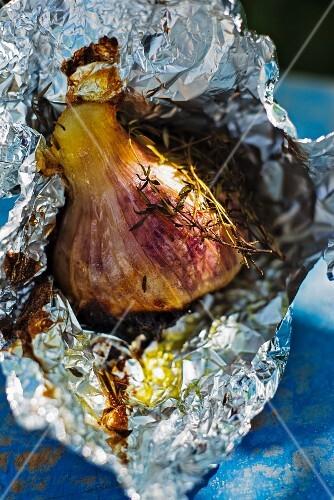 Roasted garlic in aluminium foil