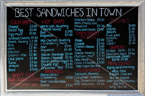 A menu board in a sandwich shop (York, England)