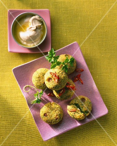 Falafel with herbs, chilli rings and hummus