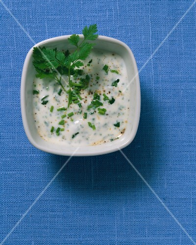 A garden herb dip with parsley