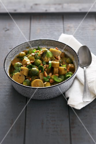 Burdock curry with Brussels sprouts