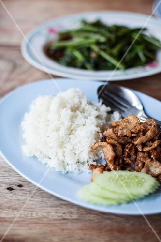Flash-fried pork with rice
