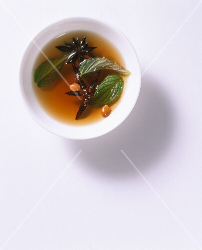 A marinade for tofu with anise and mint
