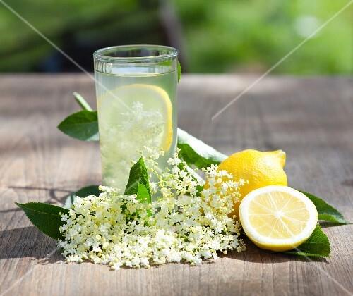 Elderflower juice with lemons and elderflowers