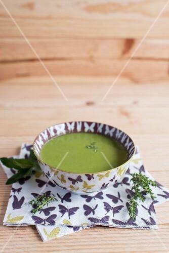 A bowl of cold pea soup