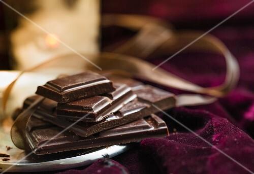 An arrangement of dark chocolate