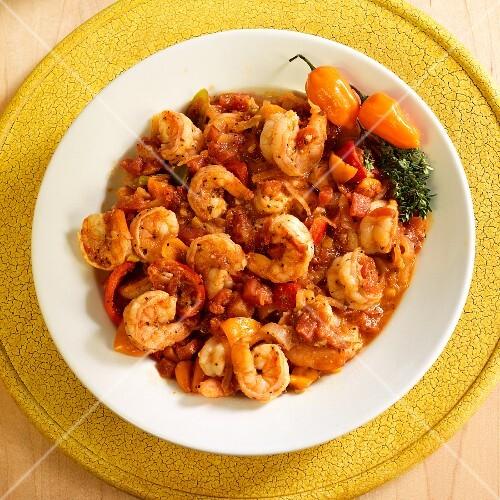 Camarones a la Diabla (prawns, onions, garlic, poblano, anaheim, serrano chilli peppers and tomatoes)