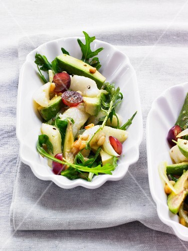 Aubergine and pear salad with rocket