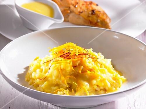 Saffron risotto with lemon zest