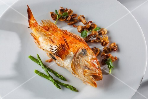 Fried scorpion fish with asparagus and mushrooms
