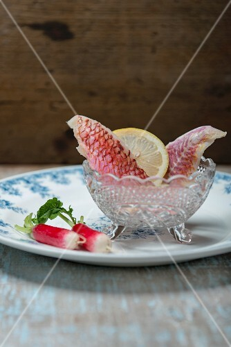 Red mullet, lemon and radishes