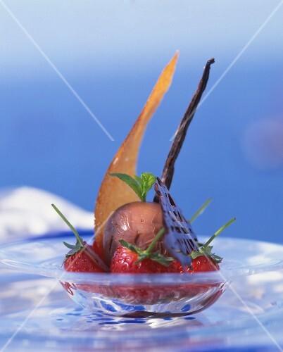 Chocolate ice cream with strawberries