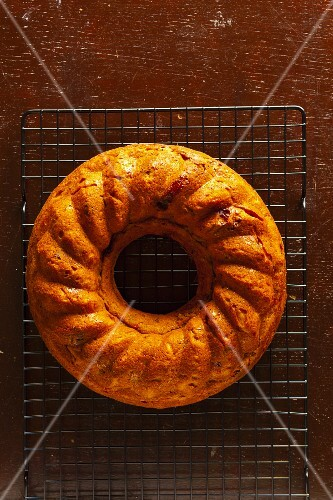 A Bundt cake with dried fruits
