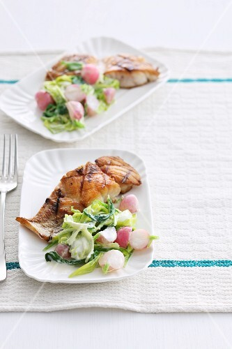 Grilled fish steak with a leak and radish salad