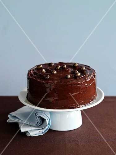 Chocolate angel cake on a cake stand