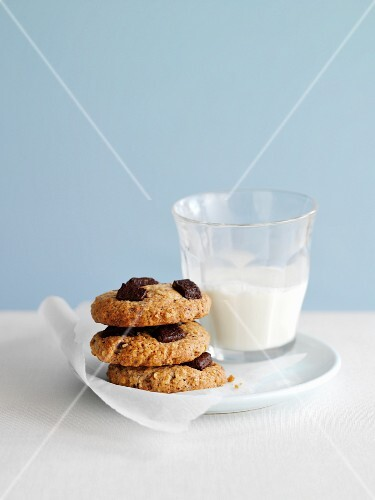 Chocolate chip and nut cookies with a glass of milk