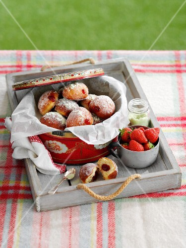 Strawberry doughnuts for a picnic