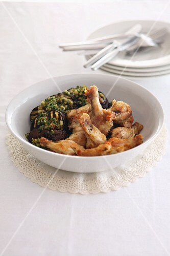 Chicken with aubergines and herbs