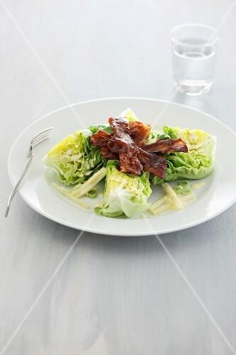 Cos lettuce with crispy bacon