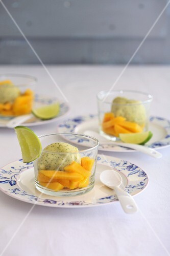 Vanilla yoghurt ice cream with mango and lime