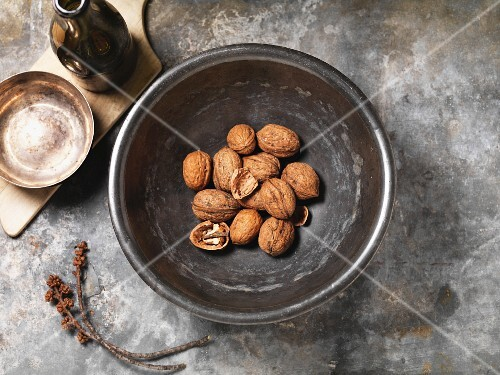 A bowl of walnuts (seen above)