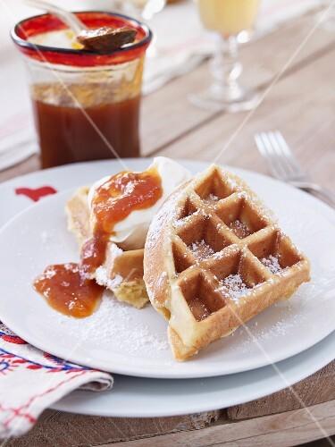 Vanilla waffles with sea buckthorn jam