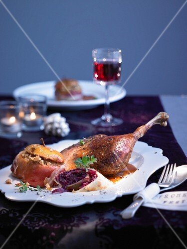 Roast goose with baked apple sauce for Christmas