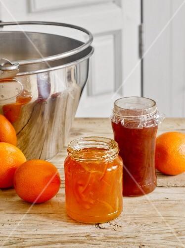 Homemade marmalade with peel, and blood orange marmalade
