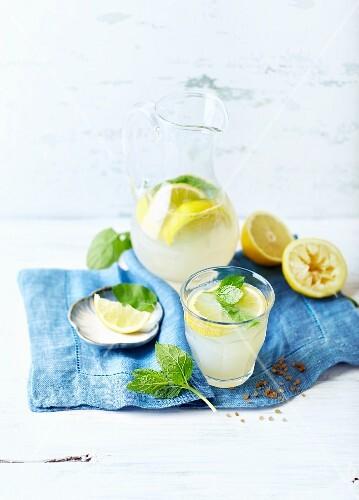 Lemonade with lemon wedges and mint