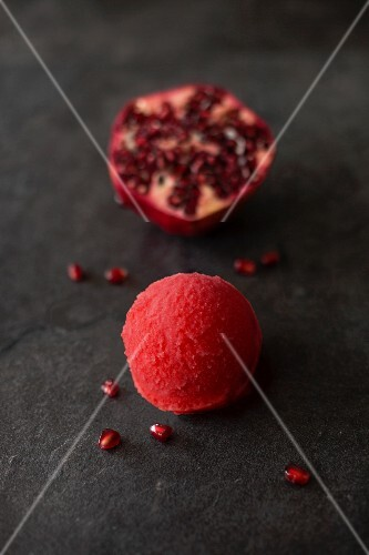 A scoop of pomegranate sorbet