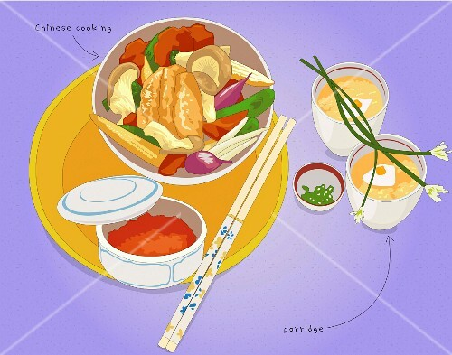 A Chinese dish with chopsticks on a plate (illustration)