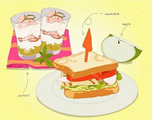 A sandwich, parfait and an apple wedge (illustration)