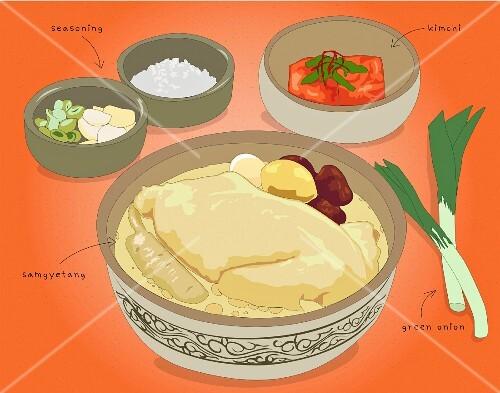 Samgyetang (Korean chicken soup with ginger, illustration)