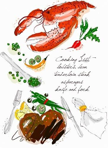 An arrangement of lobster, steak, vegetables and cutlery (illustration)