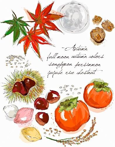 An autumnal arrangement of leaves, nuts, chestnuts and persimmons (illustration)