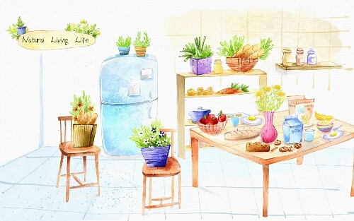 An illustration of food and shopping in a kitchen