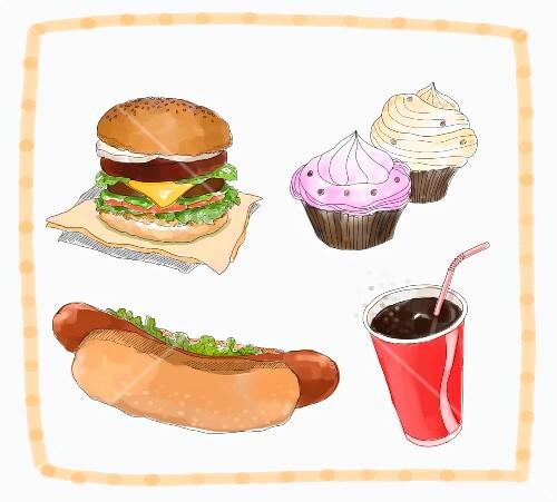 Various snacks: a burger, a hot dog, cupcakes and cola (illustration)