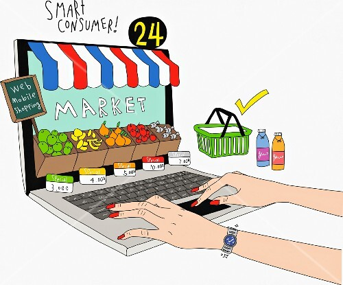 A consumer ordering food online (illustration)