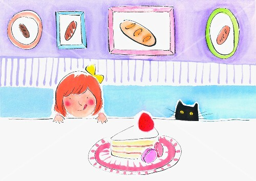 A little girl and a cat looking over the edge of a table at a slice of cake (illustration)
