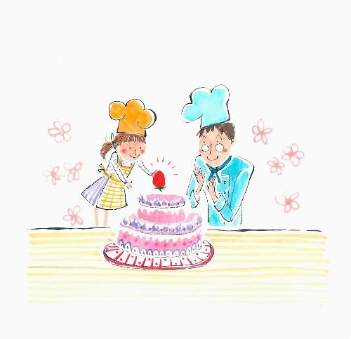 Bakers decorating a cake (illustration)