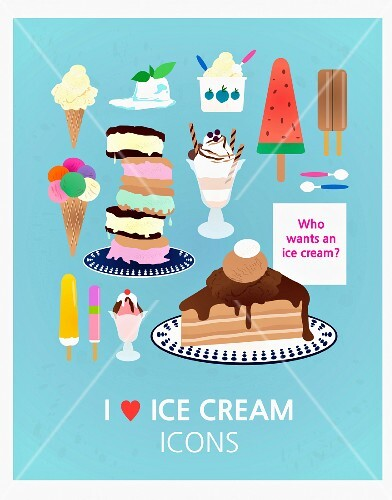 Various illustrations of ice cream against a blue background (illustration)