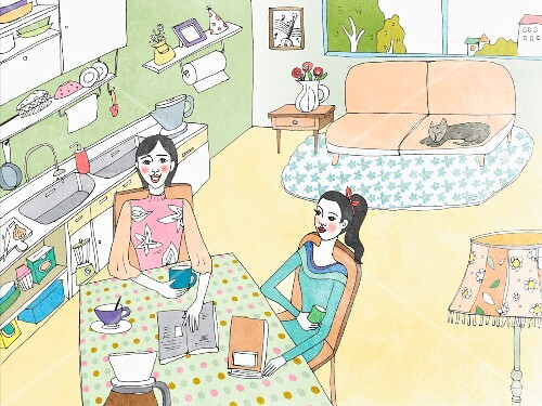Two women drinking coffee in a kitchen (illustration)