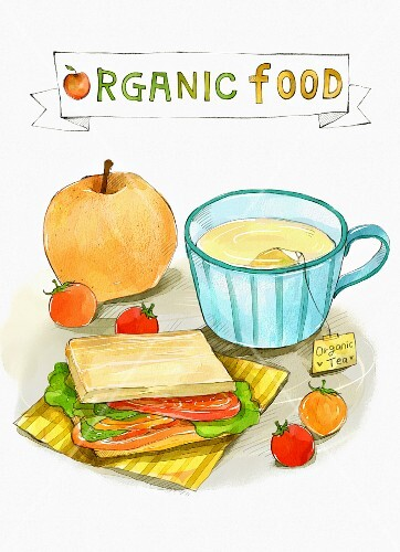 An arrangement of organic food (illustration)