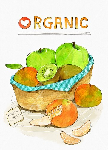 An arrangement of organic fruit (illustration)
