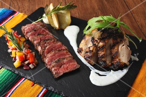 A grill platter with beef and chicken (Mexico)