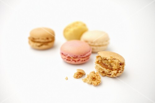 Various macaroons, whole and bitten