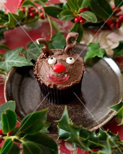A reindeer cupcake