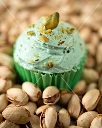 A pistachio cupcake