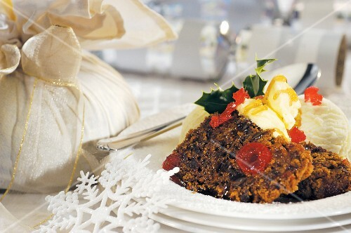 Christmas pudding with vanilla ice cream