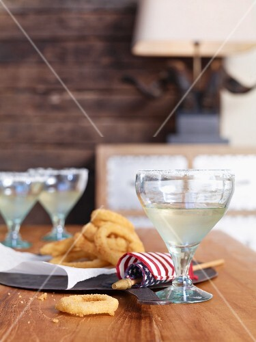 Margaritas and fried onion rings